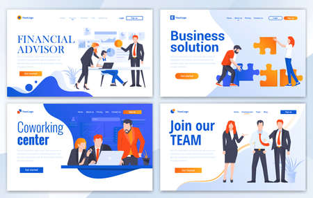 Set of Landing page design templates for Financial advisor, Business solution, Coworking and Join our team. Easy to edit and customize. Modern Vector illustration concepts for websites Illustration