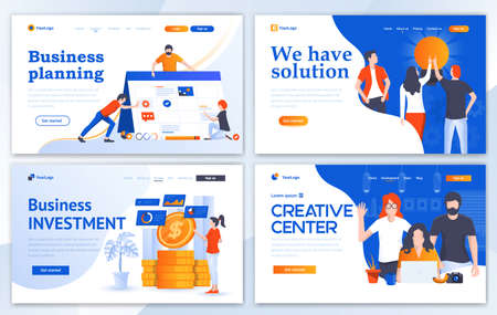 Set of Landing page design templates for Business planning, We have Solution, Investment and Creative center. Easy to edit and customize. Modern Vector illustration concepts for websites