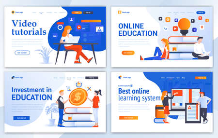 Set of Landing page design templates for Online Education, Video Tutorials, Investment in education and Best online learning system. Easy to edit and customize. Modern Vector illustration concepts for websites