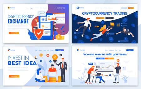 Cryptocurrency 거래를 위한 랜딩 페이지 디자인 템플릿 세트, 최고의 아이디어에 투자하고 수익을 늘리십시오. 쉽게 편집하고 사용자 정의할 수 있습니다. 웹 사이트에 대한 현대 벡터 일러스트 레이 션 개념
