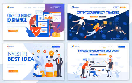 Set of Landing page design templates for Cryptocurrency trading, Invest in best idea and Incease your revenue. Easy to edit and customize. Modern Vector illustration concepts for websites