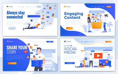 Set of Landing page design templates for Always stay connected, Engaging Content, Share your Story and Social Media. Easy to edit and customize. Modern Vector illustration concepts for websites