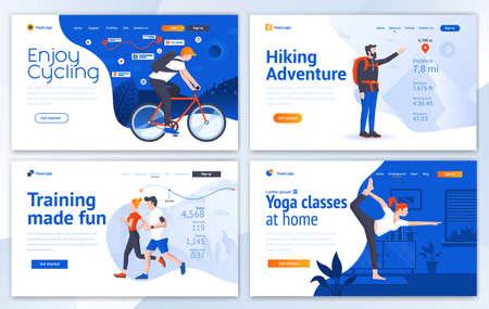サイクリング、ハイキング、トレーニング、ヨガ用のランディングページデザインテンプレートのセット。簡単に編集およびカスタマイズできます。Web サイトの最新ベクトルイラストの概念 ベクターイラストレーション