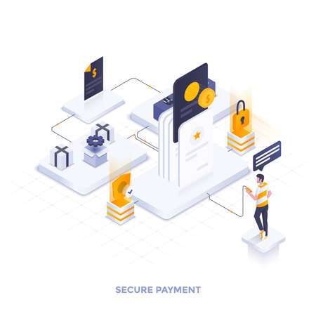 Modern flat design isometric illustration of Secure Payment. Can be used for website and mobile website or Landing page. Easy to edit and customize. Vector illustration Çizim