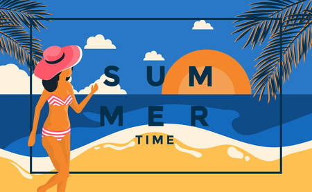 Flat Design Summer Holiday poster. Frame with young girl on the beach, can be used as Exotic wallpaper, Greeting card, poster, placard. Vector Illustration