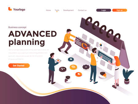 Modern flat design isometric concept of Advanced Planning for website and mobile website. Landing page template. Easy to edit and customize. Vector illustration Stock fotó - 131690163