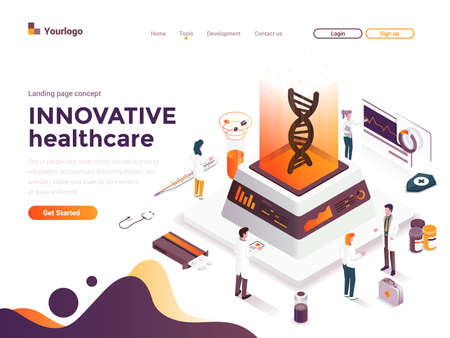 Modern flat design isometric concept of Innovative Healthcare for website and mobile website. Landing page template. Easy to edit and customize. Vector illustration Stock fotó - 131690677