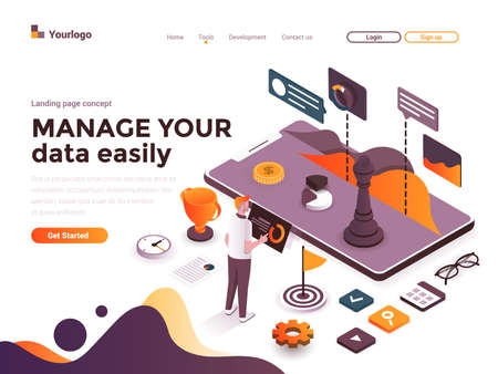 Modern flat design isometric concept of Manage your data easily for website and mobile website. Landing page template. Easy to edit and customize. Vector illustration Illusztráció