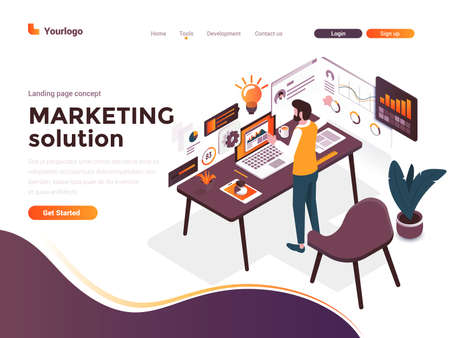 Modern flat design isometric concept of Marketing Solution for website and mobile website. Landing page template. Easy to edit and customize. Vector illustration
