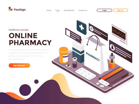 Modern flat design isometric concept of Online Pharmacy for website and mobile website. Landing page template. Easy to edit and customize. Vector illustration
