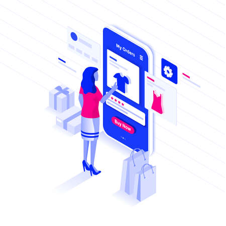 Modern flat design isometric illustration of Online Shopping. E-commerce concept. Can be used for website and mobile website or Landing page. Easy to edit and customize. Vector illustration