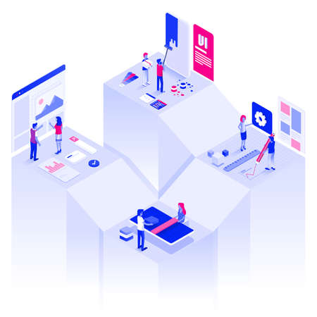 Modern flat design isometric illustration of Web Design and Development. Technology teamwork concept. Can be used for website and mobile website or Landing page. Easy to edit and customize. Vector illustration