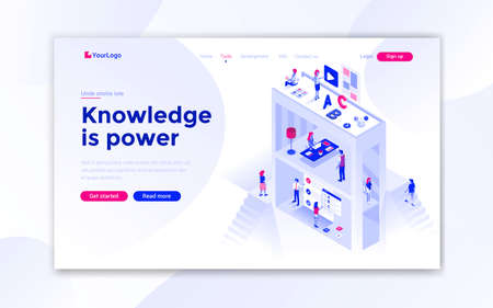 Landing page template of Knowledge is power. Modern isometric design concept of web page design for website and mobile website. Easy to edit and customize. Vector illustration