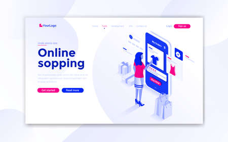 Landing page template of Online Shopping. Modern isometric design concept of web page design for website and mobile website. Easy to edit and customize. Vector illustration Stock fotó - 131690673