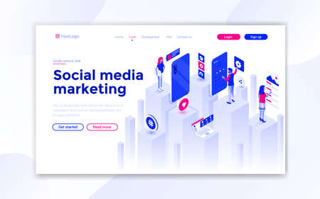 Landing page template of Social Media marketing. Modern isometric design concept of web page design for website and mobile website. Easy to edit and customize. Vector illustration Stock fotó - 131689850
