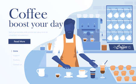 Landing page template of Coffee Shop. Young man barista making coffee in modern bar. Modern flat design concept of web page design for website and mobile website. Easy to edit and customize. Vector illustration Illustration