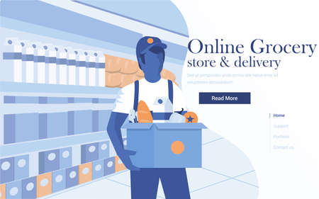 Landing page template of Online Grocery. Young man carrying a grocery box. Modern flat design concept of web page design for website and mobile website. Easy to edit and customize. Vector illustration Ilustração