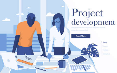 Landing page template of Project Development. Team of young people working together in modern workspace. Modern flat design concept of web page design for website and mobile website. Easy to edit and customize. Vector illustration
