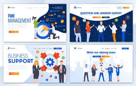 Set of Landing page design templates for Time management, Question and answer, Business support and Winning team. Easy to edit and customize. Modern Vector illustration concepts for websites  イラスト・ベクター素材