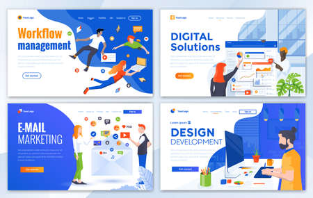 Set of Landing page design templates for Workflow management, Digital Solutions, Email Marketing and Design Development Easy to edit and customize. Modern Vector illustration concepts for websites Illusztráció
