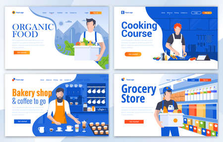 Set of Landing page design templates for Organic Food, Cooking Course, Bakery Store and Grocery Store. Easy to edit and customize. Modern Vector illustration concepts for websites