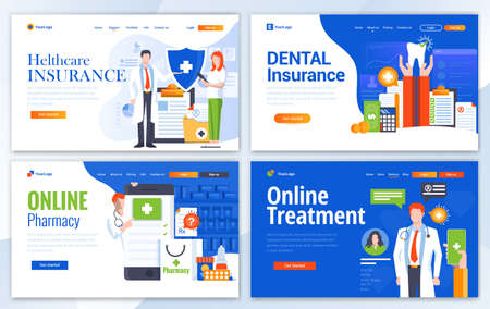 Set of Landing page design templates for Helthcare and Dental Insurance, Online Pharmacy and Online Treatment. Easy to edit and customize. Modern Vector illustration concepts for websites Vettoriali
