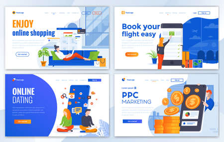 Set of Landing page design templates for Online Shopping, Book your flight, Online Dating and Pay Per Click.