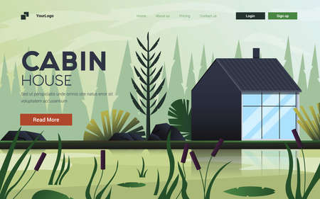 Landing page template of Cabin House. Wild Nature landscape. Modern flat design concept of web page design for website and mobile website. Easy to edit and customize. Vector illustration