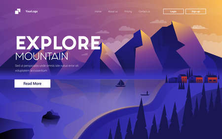 Landing page template of Explore Mauntain. Mountain landscape. Modern flat design concept of web page design for website and mobile website. Easy to edit and customize. Vector illustration Illusztráció