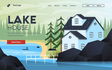 Landing page template of Lake House. Mountain landscape. Modern flat design concept of web page design for website and mobile website. Easy to edit and customize. Vector illustration Çizim