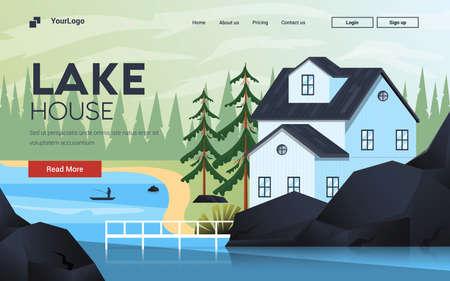 Modèle de page de destination de Lake House. Paysage de montagne. Concept de design plat moderne de conception de pages Web pour site Web et site Web mobile. Facile à modifier et à personnaliser. Illustration vectorielle