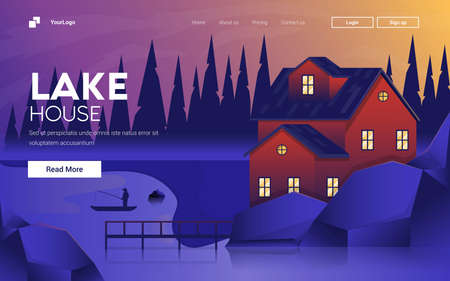Landing page template of Lake House. Mountain landscape. Modern flat design concept of web page design for website and mobile website.
