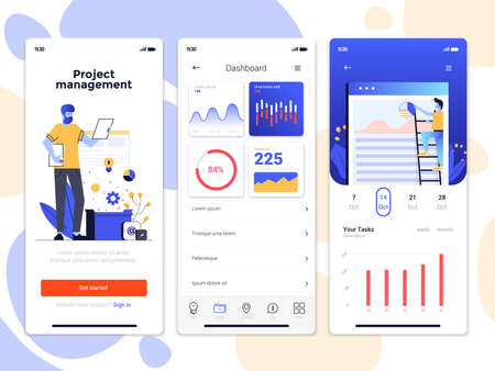Modern user interface UX, UI screen template for mobile smart phone. Mobile application screens, onboarding screens, Online ads. Data Analysis, Statistic app. Vector Illustration Illusztráció