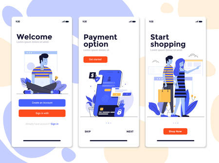 Modern user interface UX, UI screen template for mobile smart phone. Mobile application screens, onboarding screens, Online ads. E-commerce, Online shopping app. Vector Illustration Illusztráció
