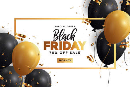 Black Friday sale banner with glossy Balloons. Social media template for website and mobile website development, email and newsletter design, marketing material. Vector Illustration
