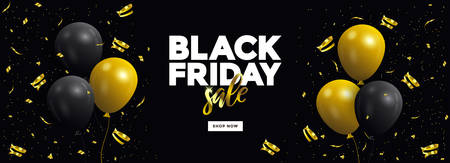 Black Friday sale poster or commercial discount event banner on black background with glossy balloons. Social media template for website and mobile website development, email and newsletter design, marketing material. Vector Illustration Stock fotó - 133234812