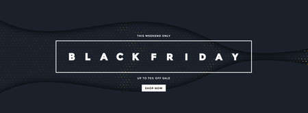 Black Friday sale poster or commercial discount event banner on black background with Halftone pattern. Social media template for website and mobile website development, email and newsletter design, marketing material. Vector Illustration Stock fotó - 133230912
