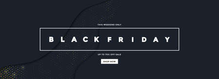 Black Friday sale poster or commercial discount event banner on black background with Halftone pattern. Social media template for website and mobile website development, email and newsletter design, marketing material. Vector Illustration