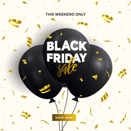 Black Friday sale poster or commercial discount event banner on bright background with glossy balloons. Social media template for website and mobile website development, email and newsletter design, marketing material. Vector Illustration