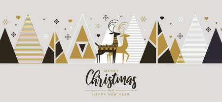 Modern Flat design Creative Christmas greeting card. Abstract Christmas trees, holiday theme. Can be used as Christmas card, poster, banner, frame.