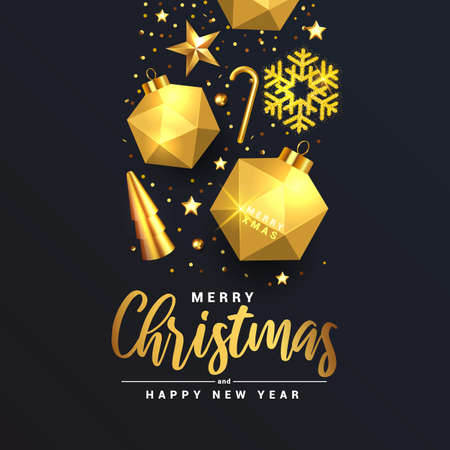 Modern Merry Christmas and Happy New Year greeting card design, winter design with golden ornaments on festive black luxury background. Vector Illustration Banque d'images - 134949598