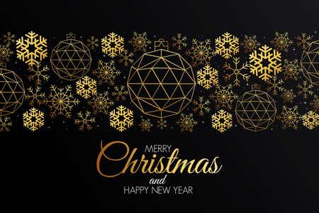 Tarjeta de felicitación colorida de Navidad hecha en estilo origami poligonal. Cartel de fiesta, tarjeta de felicitación, pancarta o invitación. Adornos formados por triángulos. Ilustración de vector