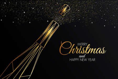 Bunte Weihnachtsgrußkarte im polygonalen Origami-Stil. Partyposter, Grußkarte, Banner oder Einladung. Ornamente aus Dreiecken.