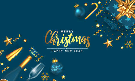Modern Merry Christmas and Happy New Year greeting card design, winter design with golden ornaments on modern royal blue background. Vector Illustration Stock fotó - 134971783