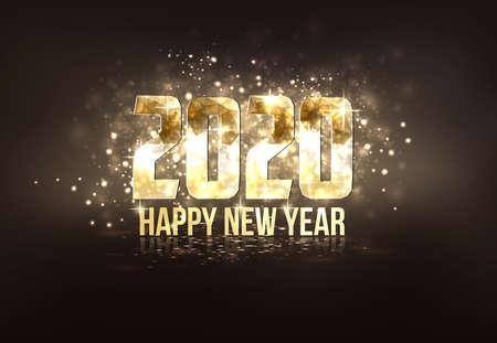 Feliz año nuevo 2020 colorida tarjeta de felicitación en estilo origami poligonal. Cartel de fiesta, tarjeta de felicitación, pancarta o invitación. Número formado por triángulos. Vector
