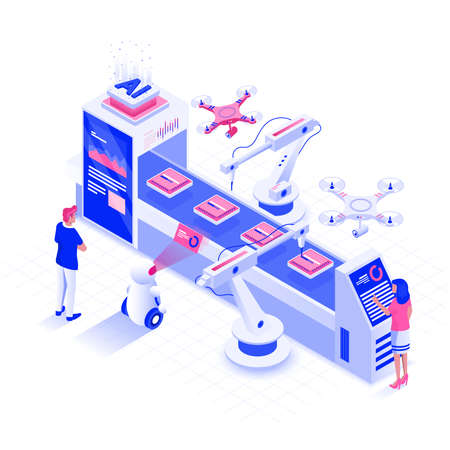 Modern flat design isometric illustration of Inovative smart industry. Automated production line concept. Can be used for website and mobile website or Landing page. Easy to edit and customize. Vector illustration