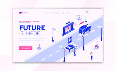 Landing page template of Autonomous Vehicles. Modern isometric design concept of web page design for website and mobile website. Easy to edit and customize. Vector illustration