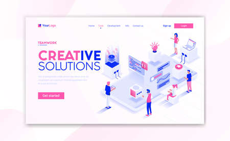 Landing page template of Creative Solutions. Modern isometric design concept of web page design for website and mobile website. Easy to edit and customize. Vector illustration