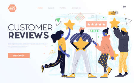 Landing page template or presentation template of Customer Review. Young man and woman working together on project. Modern flat design businss concept. Easy to edit and customize. Vector illustration