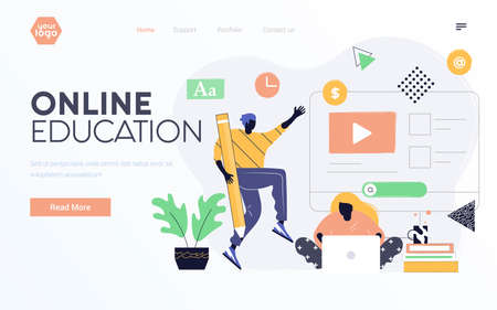Landing page template or presentation template of Online Education. Young man and woman learning together. Modern flat design businss concept. Easy to edit and customize. Vector illustration Illustration